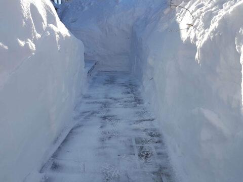 SDQ Déneigement d'une allées très enneigée dans la ville de Québec